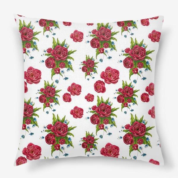 Подушка «красные цвето4ки»