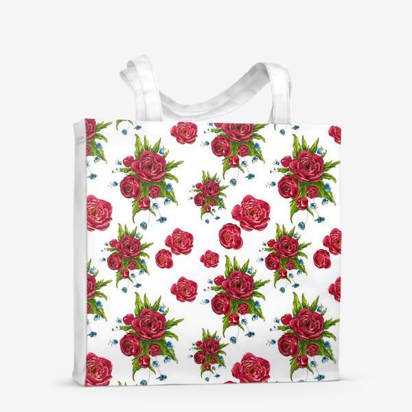 Сумка-шоппер «красные цвето4ки»
