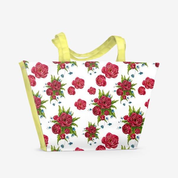 Пляжная сумка «красные цвето4ки»