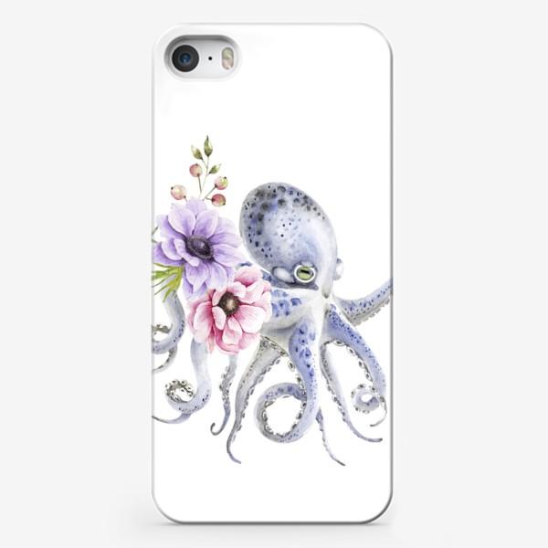 Чехол iPhone «голубой осьминог с цветами »