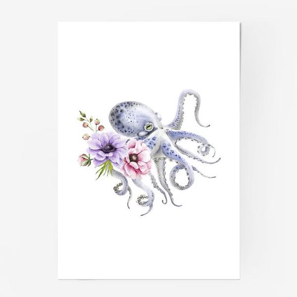 Постер «голубой осьминог с цветами »