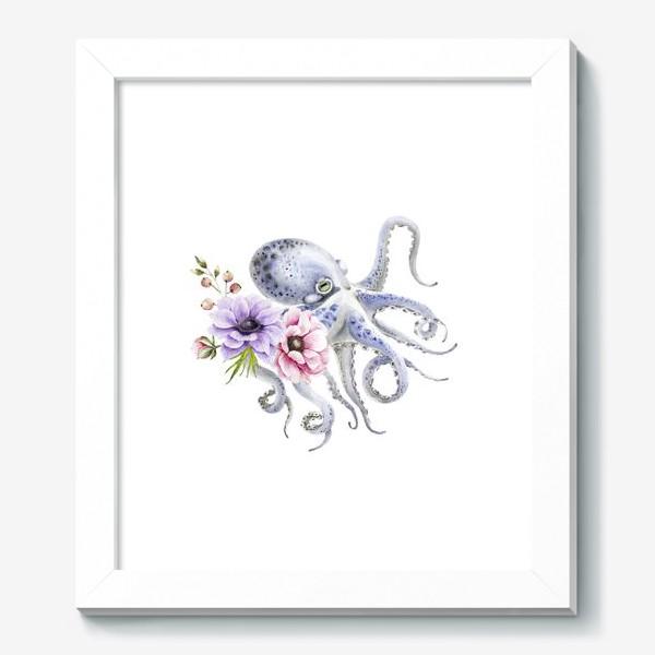 Картина «голубой осьминог с цветами »