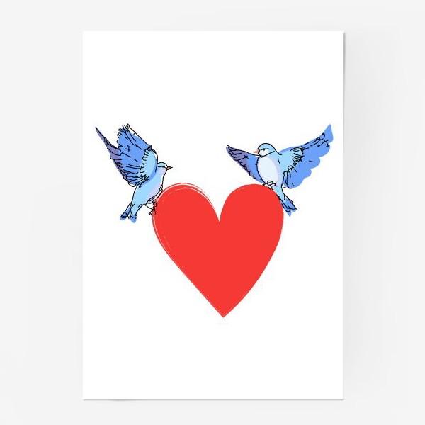 Постер «Яркие синие птички с красным сердечком»