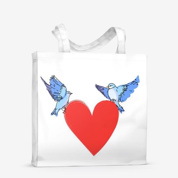 Сумка-шоппер «Яркие синие птички с красным сердечком»
