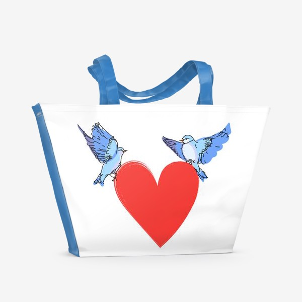 Пляжная сумка «Яркие синие птички с красным сердечком»