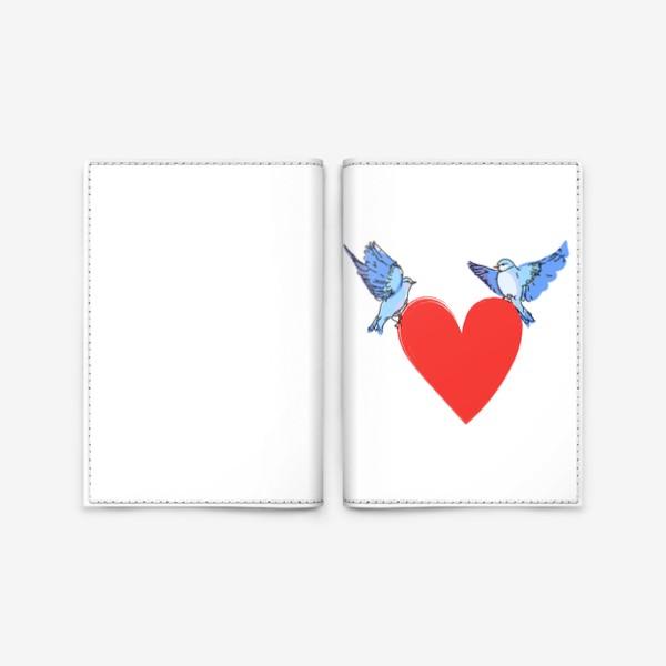 Обложка для паспорта «Яркие синие птички с красным сердечком»