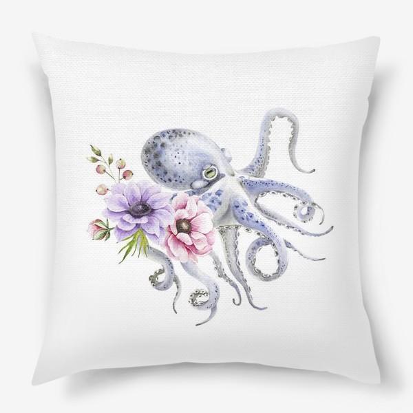 Подушка «голубой осьминог с цветами »