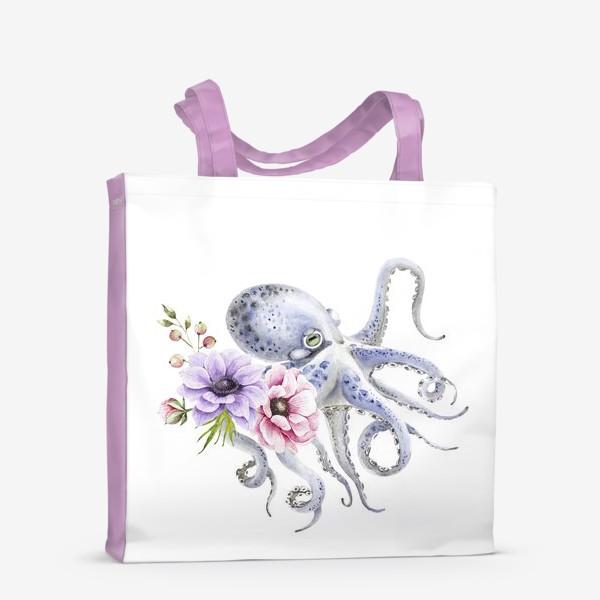 Сумка-шоппер «голубой осьминог с цветами »