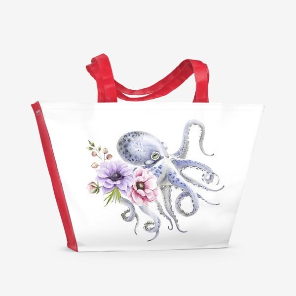 Пляжная сумка «голубой осьминог с цветами »