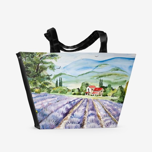 Пляжная сумка «Лавандовое поле в Провансе»