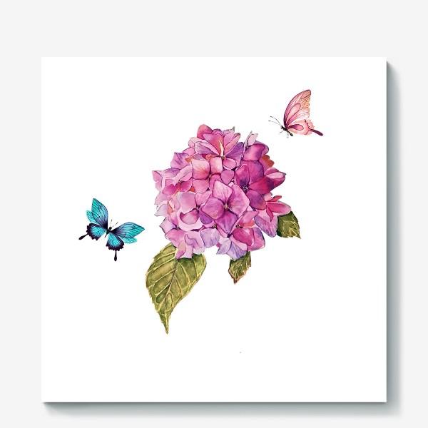 Холст «гортензия и бабочки»
