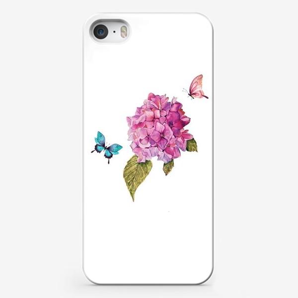 Чехол iPhone «гортензия и бабочки»