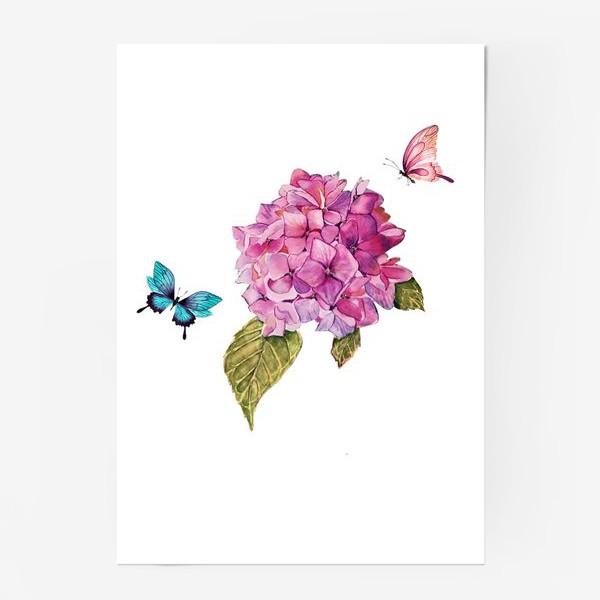 Постер «гортензия и бабочки»