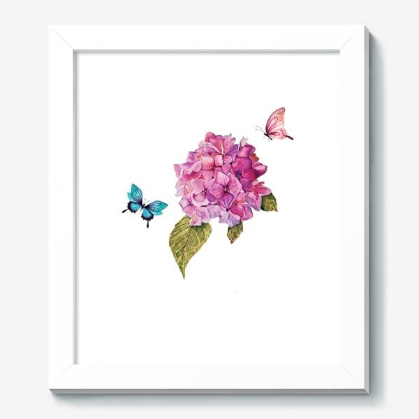 Картина «гортензия и бабочки»