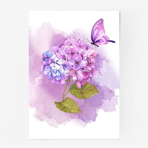 Постер «розовая гортензия»