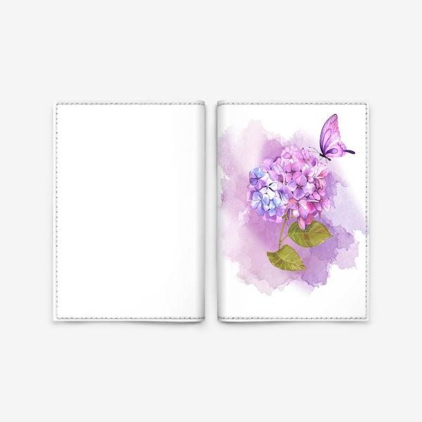 Обложка для паспорта «розовая гортензия»