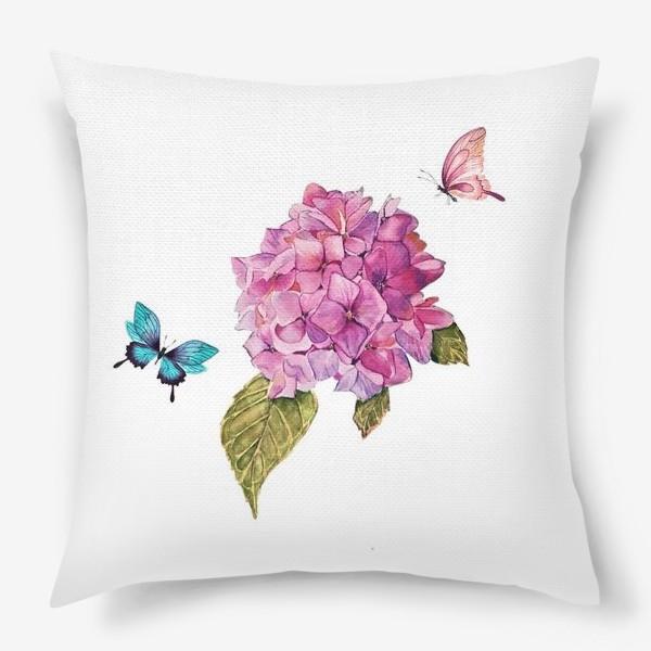Подушка «гортензия и бабочки»