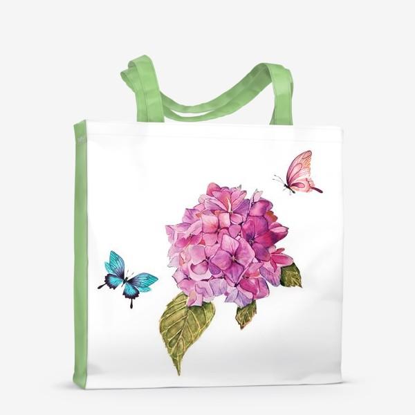 Сумка-шоппер «гортензия и бабочки»