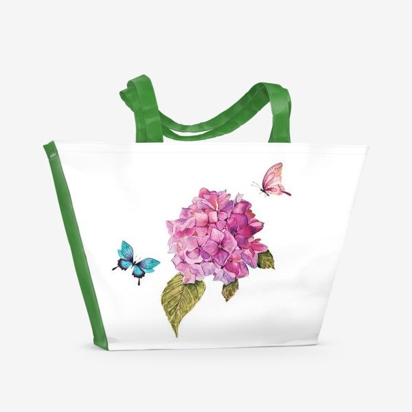 Пляжная сумка «гортензия и бабочки»