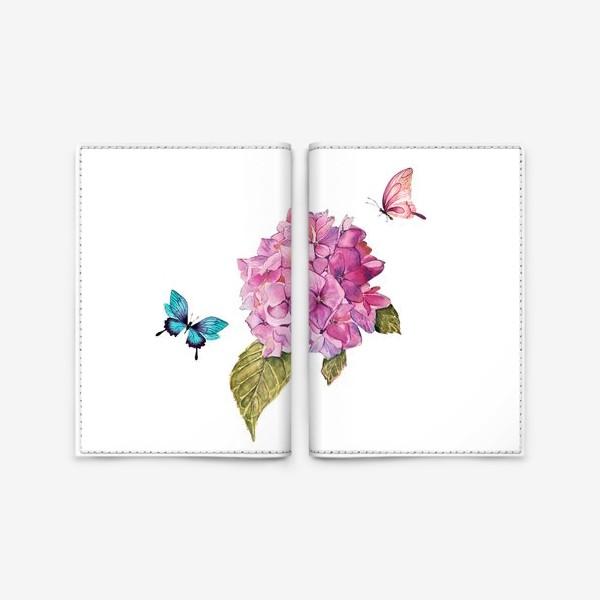 Обложка для паспорта «гортензия и бабочки»
