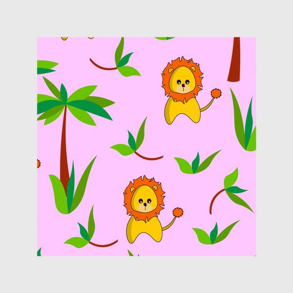 Шторы «Лев и пальмы»
