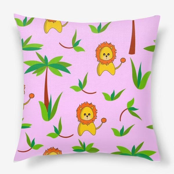 Подушка «Лев и пальмы»