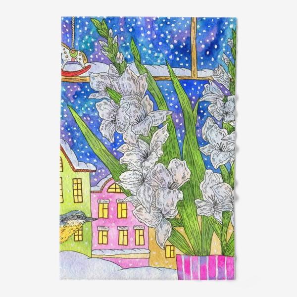 Полотенце «Зимний букет гладиолусов»