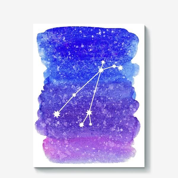 Холст «Созвездие Овен. Акварельный фон»