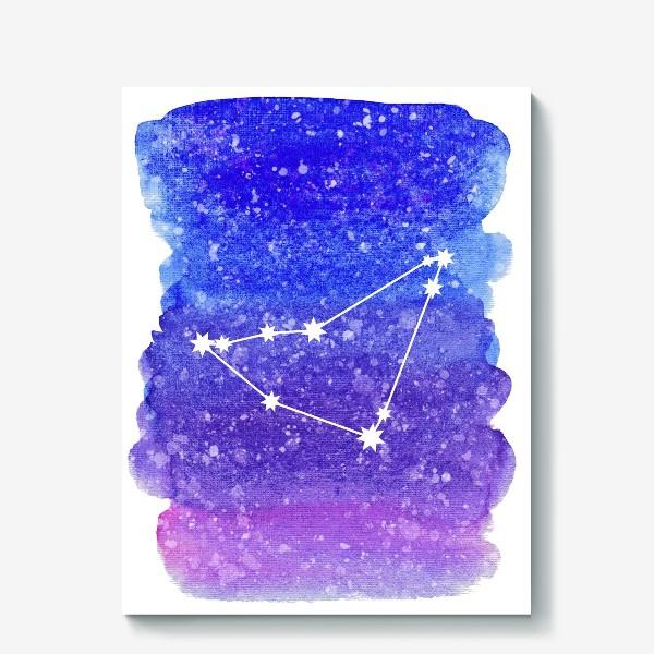 Холст «Созвездие Козерог. Акварельный фон»