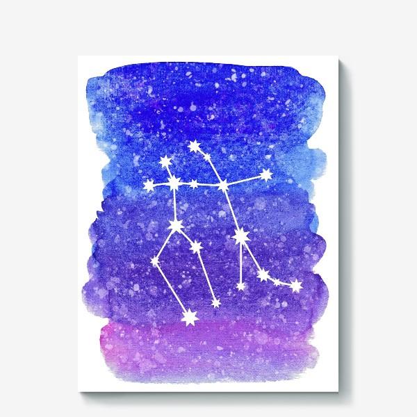 Холст «Созвездие Близнецы. Акварельный фон»
