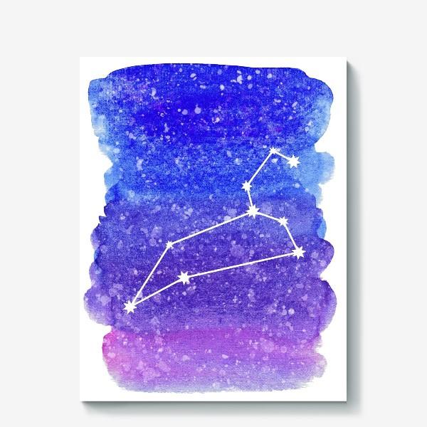 Холст «Созвездие Лев. Акварельный фон»