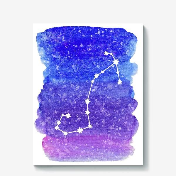 Холст «Созвездие Скорпион. Акварельный фон»