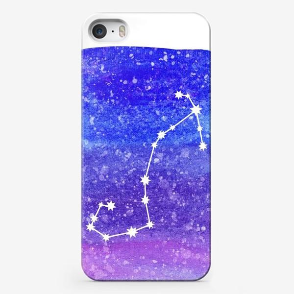 Чехол iPhone «Созвездие Скорпион. Акварельный фон»