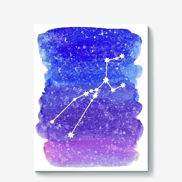 Холст «Созвездие Телец. Акварельный фон»