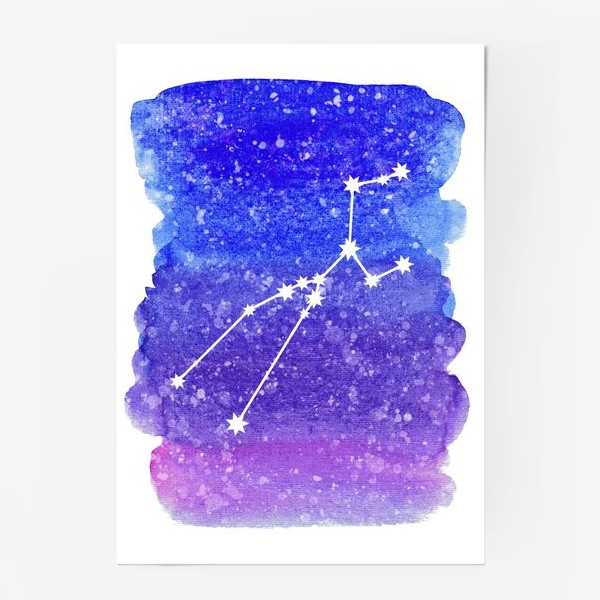 Постер «Созвездие Телец. Акварельный фон»