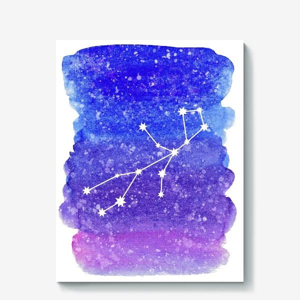 Холст «Созвездие Дева. Акварельный фон»