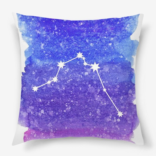 Подушка «Созвездие Водолей. Акварельный фон»