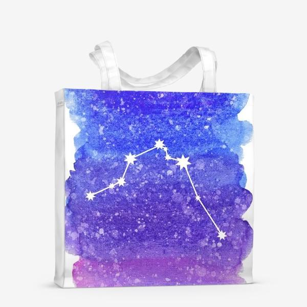 Сумка-шоппер «Созвездие Водолей. Акварельный фон»