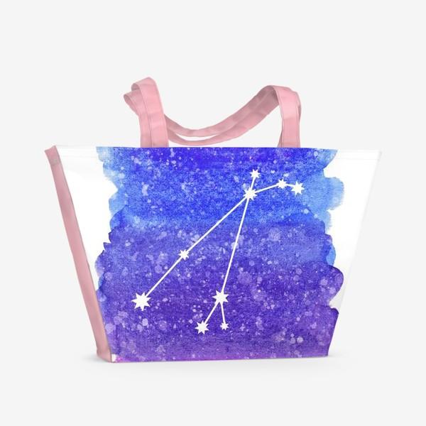 Пляжная сумка «Созвездие Овен. Акварельный фон»