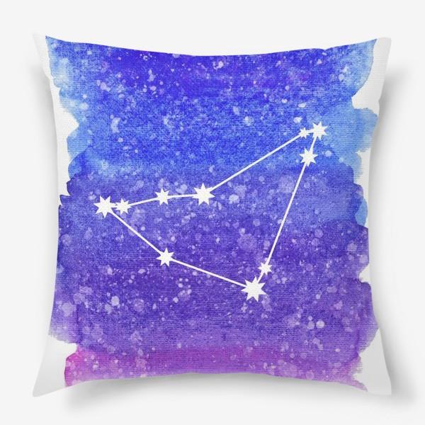 Подушка «Созвездие Козерог. Акварельный фон»