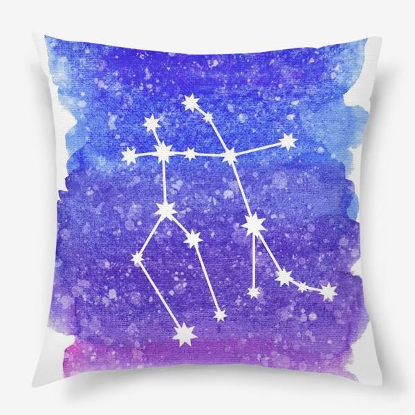 Подушка «Созвездие Близнецы. Акварельный фон»
