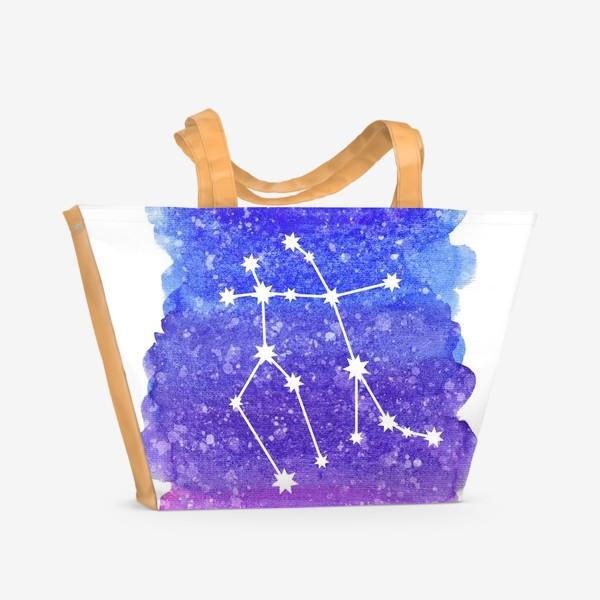 Пляжная сумка «Созвездие Близнецы. Акварельный фон»