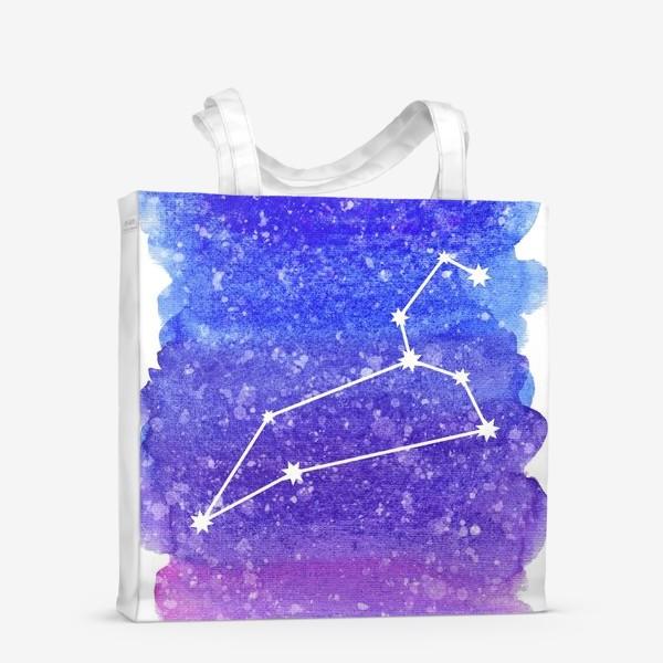 Сумка-шоппер «Созвездие Лев. Акварельный фон»