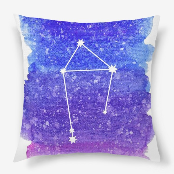 Подушка «Созвездие Весы. Акварельный фон»