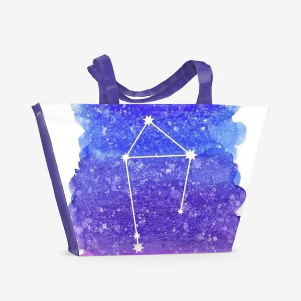 Пляжная сумка «Созвездие Весы. Акварельный фон»