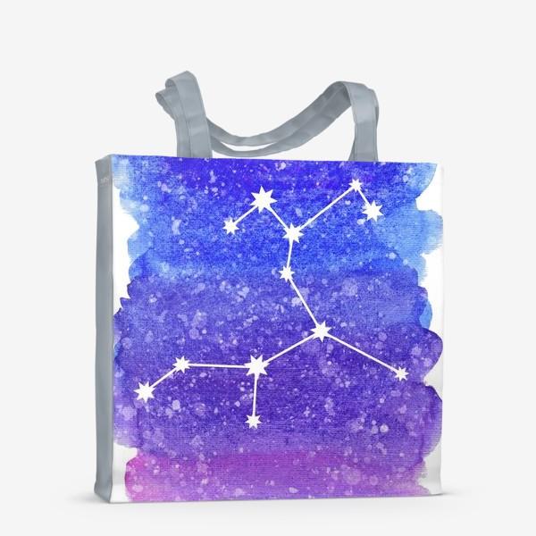 Сумка-шоппер «Созвездие Стрелец. Акварельный фон»