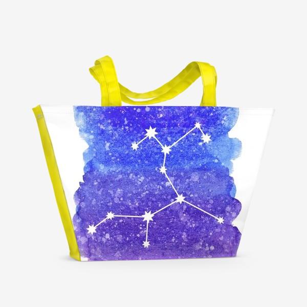 Пляжная сумка «Созвездие Стрелец. Акварельный фон»