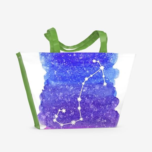 Пляжная сумка «Созвездие Скорпион. Акварельный фон»