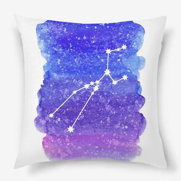 Подушка «Созвездие Телец. Акварельный фон»
