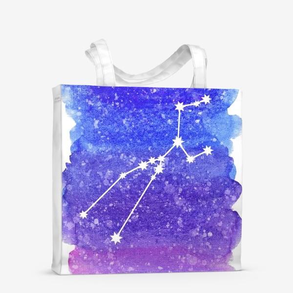 Сумка-шоппер «Созвездие Телец. Акварельный фон»